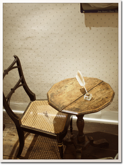 Jane Austen's writing table and quill